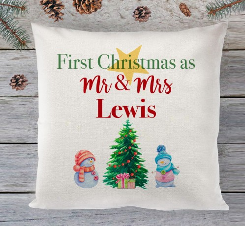 Our First Christmas Mr & Mrs (tree) cushion