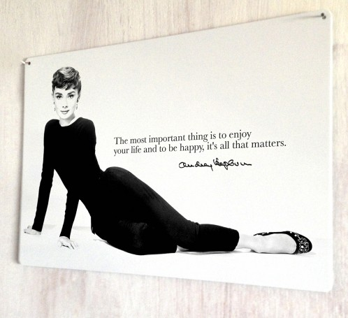 Audrey Hepburn Happy quote metal sign