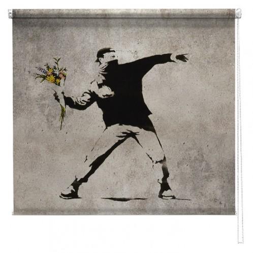 Banksy graffiti printed blind Flower Thrower