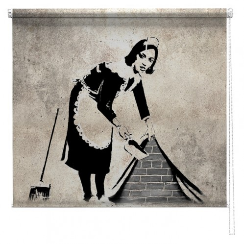 Banksy graffiti printed blind Sweeping it under the carpet