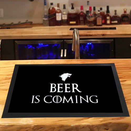 Beer is Coming funny bar runner mat