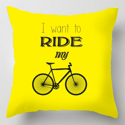 I want to ride my bicycle typography decorative cushion