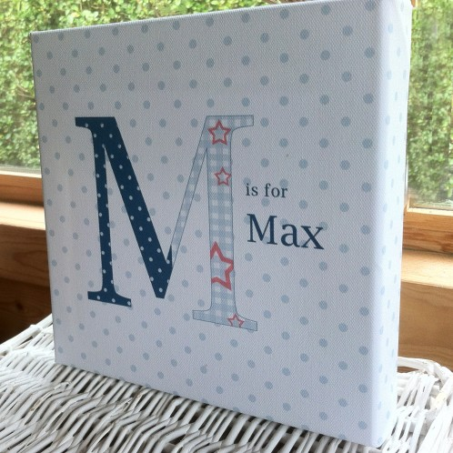 Personalised childrens name letter blue boys canvas art