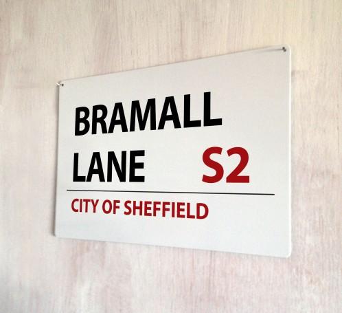 Bramall Lane City of Sheffield Street Sign