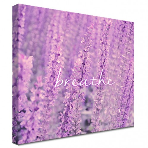 Breathe quote lavender canvas art