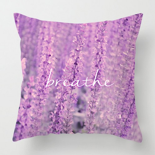 'Breathe' Lavender photo cushion