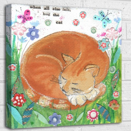 When all else fails stroke the cat quote canvas art