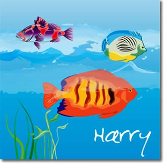 Personalised fish childrens canvas art