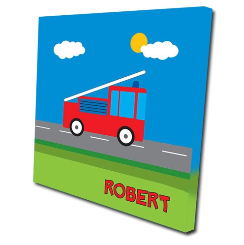 Personalised fire truck childrens canvas art