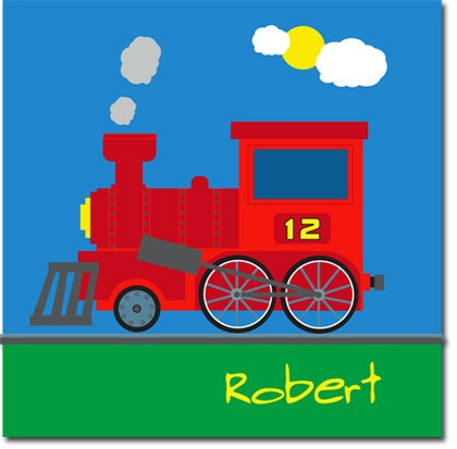 Personalised train childrens canvas art