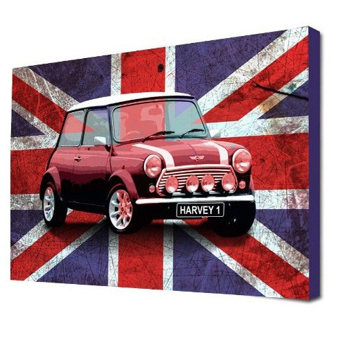 personalised union jack mini canvas art