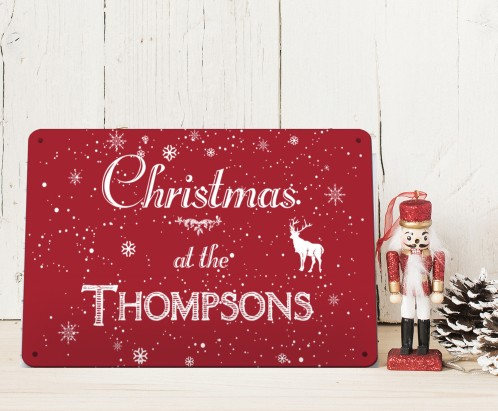 Personalised Christmas at the ..metal sign decoration