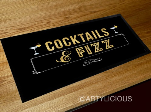 Cocktails & Fizz bar runner mat
