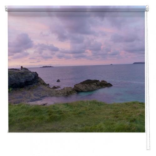 Cornwall pink sunset UK printed blind