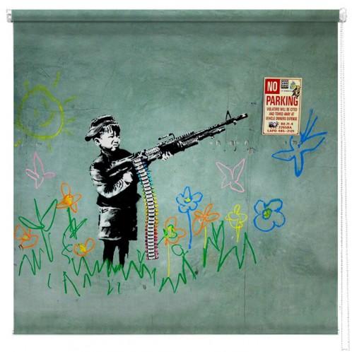 Banksy Crayola shooter printed blind