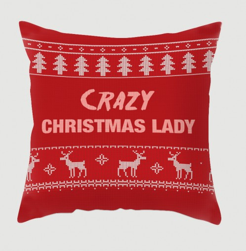Crazy Christmas Lady cushion, in a christmas jumper style pattern
