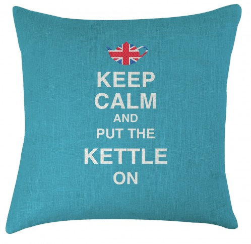 Keep Calm and put the kettle on cushion