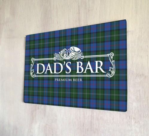 Dad's Bar Tartan Beer Label Sign