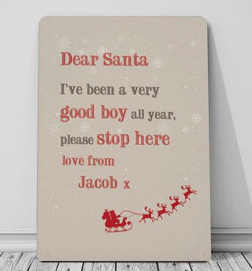 Personalised Dear Santa metal wall sign great christmas idea
