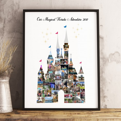 Disney Castle Photo Memory Collage Print