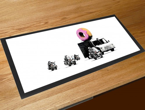 Banksy doughnut security bar runner