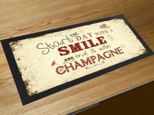 Start the day with a smile and end it with Champagne quote vintage retro bar runner