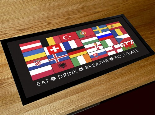 Euro 2016 football flag Bar pub runner counter mat european championships
