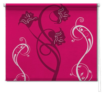Pink flower printed roller blind