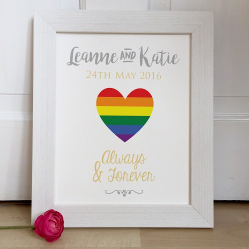 Personalised Gay Wedding Rainbow Heart wedding gift print