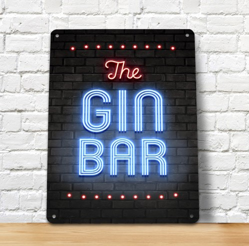 The Gin bar blue neon metal sign