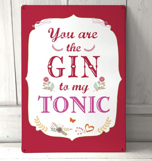 You're the Gin to my Tonic metal sign