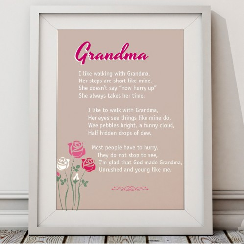 I Love Walking With Grandma Canvas Art Or Unframed Print Great Mothers Day Gift