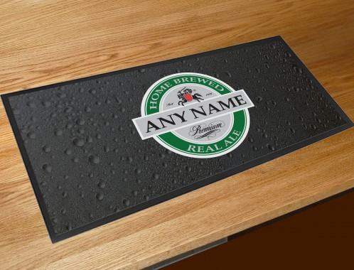 Personalised home brew label bar runner