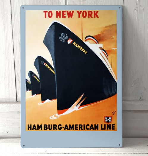 Hamburg American Line Vintage Boat Sign