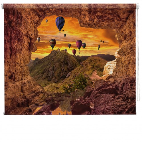 Hot Air Balloons in sky printed blind