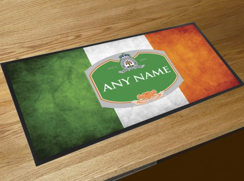 Personalised Irish flag bar runner mat