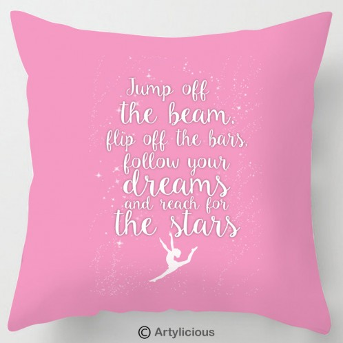 Jump off the beam, gymnastics quote cushion