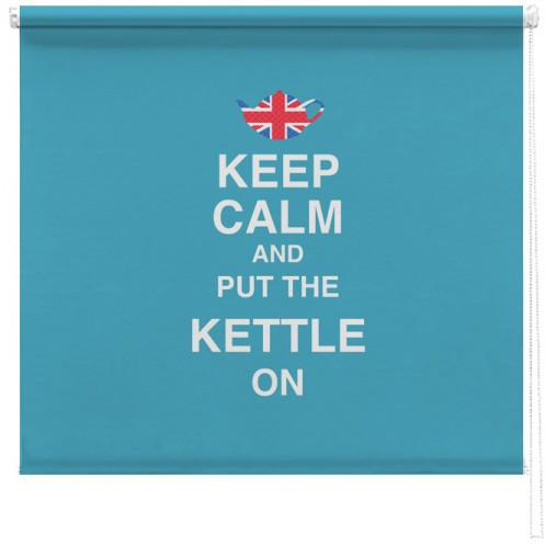 Keep Calm and put the kettle on printed blind