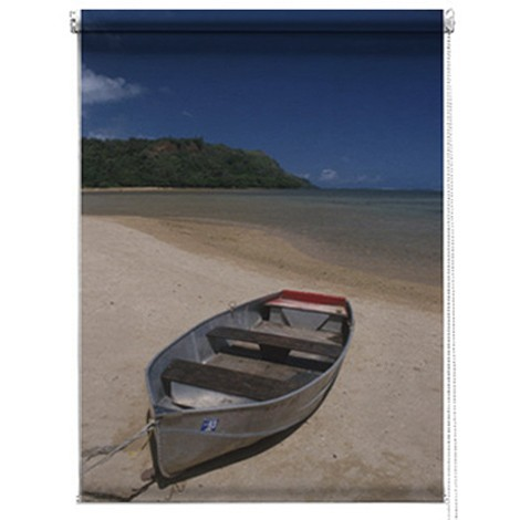 Boat on a beach photo printed blind