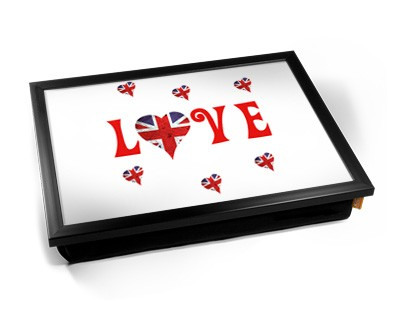 LOVE union jack heart laptray