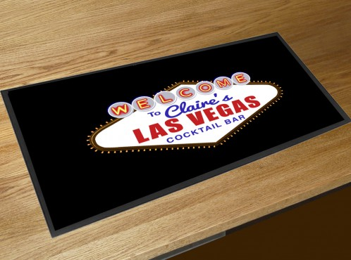 Personalised Las Vegas Cocktail bar runner mat