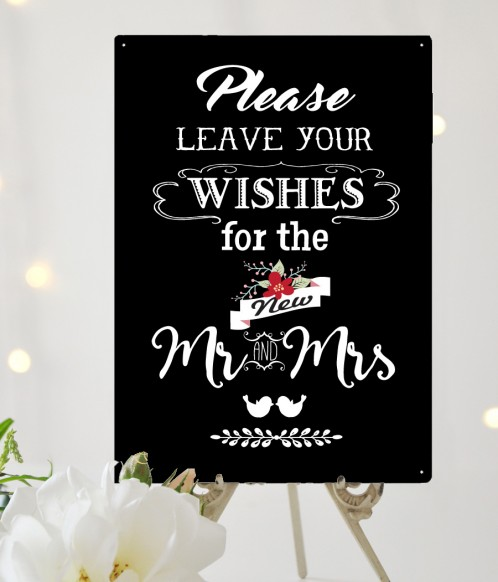 Please leave your wishes for the new Mr & Mrs wedding guestbook sign