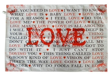 LOVE songs tea towel