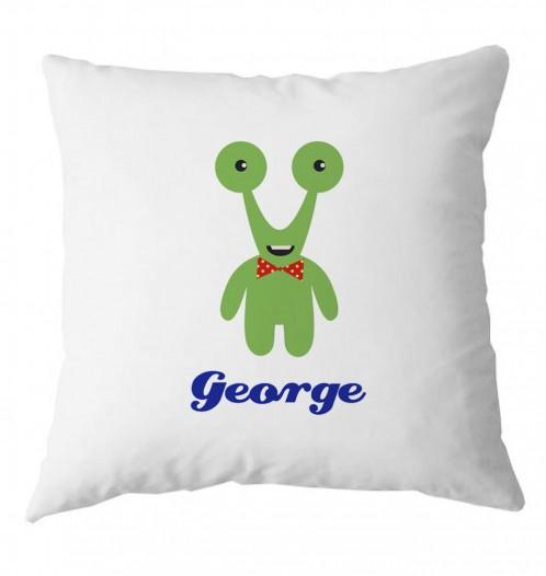 Personalised Green Alien monster childrens cushion