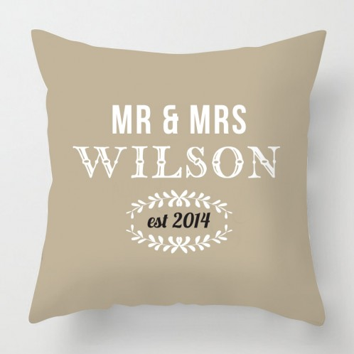 Mr & Mrs wedding personalised cushion