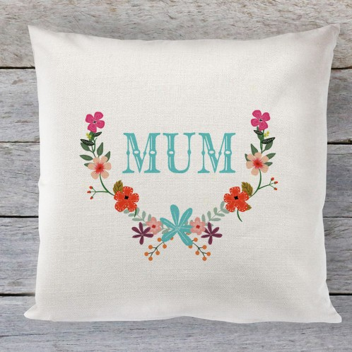 Mum floral linen cushion