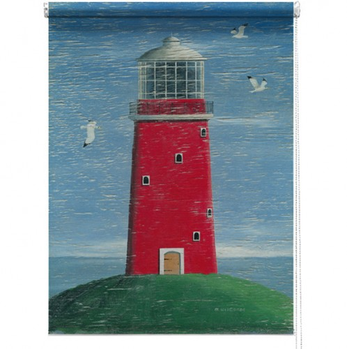 Red Lighthouse printed blind martin wiscombe
