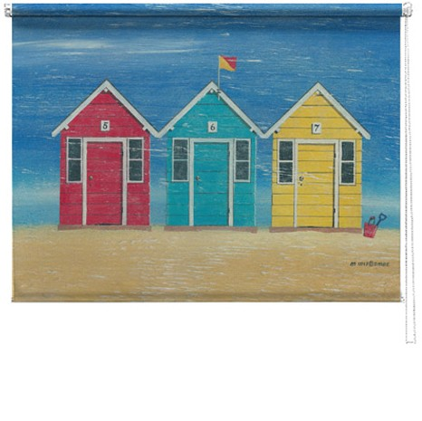Beach Huts printed blind martin wiscombe