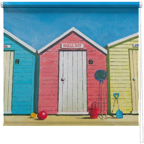 Beach Huts printed blind Martin Wiscombe