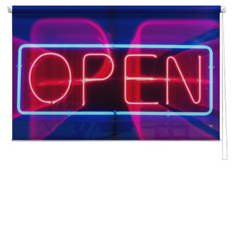 Neon Open sign printed blind